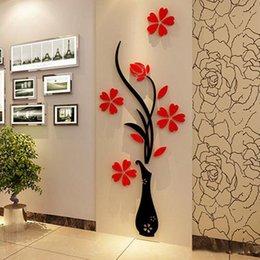 Canada Gros Stickers Muraux Acrylique 3D Prune Fleur Vase Stickers Vinyle Art DIY Home Decor Sticker Rouge Floral Wall Sticker Couleurs Offre