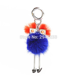Wholesale White Witch - J0034 2017 New Chick Robot ball pendant robot Fox Fur Witch shape Women Bag Bug Monster Bag Charm Genuine Pompom Keychain Luxury