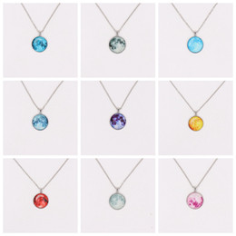 Wholesale Silver Tone Pendant Setting - Silver Tone Moonglow Necklaces Mix 10 Styles Gemstone Glass Cabochon Setting Pendant Necklace Glow In Dark Moon Sweater Chain