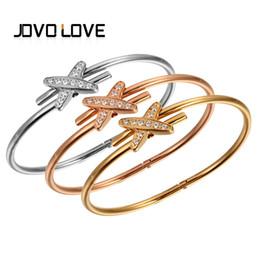 Wholesale Pave Link Chain Wholesale - whole saleJOVO Fashion Cross Shape Cubic Zirconia Pave Bracelets Trendy Gold Color Stainless Steel Bangle Bracelets for Women Party Gift