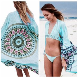 b69b9dc8c Mujeres Bohemia Prevenido Bask Blusa Suelta Playa de Verano Cubrir Ropa de  Playa Bikini Smock Camisa Traje de Baño Cover Up 10 unids LJJO4301