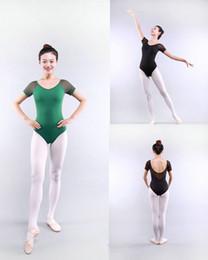 Vestuário de ballet feminino on-line-Ginástica adulta Leotard Malha Leotards de Dança de manga curta Ballet Leotards para Mulheres Dance Wear Justaucorps Adulte