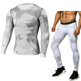 Wholesale white tights for men - Compression Shirt Tactical Mma Rashgard Union Suit 2017 Men 'S Long Sleeve T -Shirt +Tights For Men Set Pants Fitness Clothing