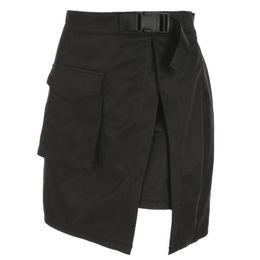 Saia moda harajuku on-line-HEYounGIRL Harajuku Cargo Mini Saias Das Mulheres Sexy de Cintura Alta Mini Saia de Verão Casual A-line Saias Curtas Dividir Bolsos Moda