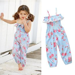 Wholesale Girls Floral Jumpsuits - Floral Toddler Girls Jumpsuits Kids Rompers Suspenders Elastic Waist Flowers Printed Kids Summer Clothes Cotton Lace 6M-5T