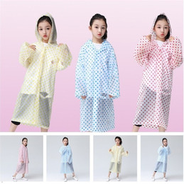 Wholesale quality poncho - high quality children's Raincoat Transparent Raincoat Poncho Portable Environmental Light Raincoat Long Use Rain Coat T5I020