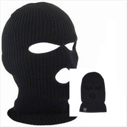 Full Face Cover Mask Three 3 Hole Balaclava Knit Hat Winter Stretch Snow  mask Beanie Hat Cap New Black Warm Face masks 564ef56165bb