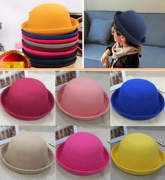 Платье шляпа купол онлайн-Мода маленькие девочки Fedora Hat купол Cap дети платье шляпы дети шапки фетровые шляпы шерсть валяние котелок шляпа более 20 цветов