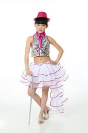 Wholesale Women Latin Dance Tops - 5-15Y Children Sequin Jazz Top & Tuxedo Skirts Girls Vestido Lentejuelas Kids Modern Dance Clothes Latin Stage Show Costume Wear