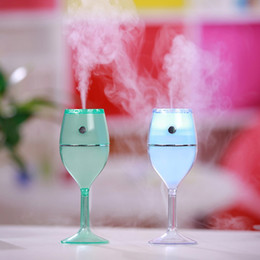 Wholesale cup mini humidifier - LED Wine Cup USB Colorful Desk Night Lamp 80ml Air Humidifier Red Wine Cups No Noise Mini Portable Air Cleaner for Home Car Use