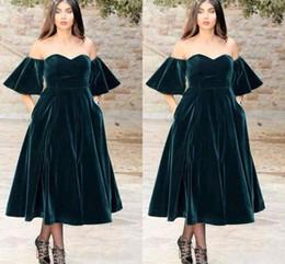 Wholesale White Velvet Tea Length Dress - 2018 Arabic Dark Green Velvet Sweetheart A Line Prom Dresses Short Sleeves Tea-length Off Shoulder Formal Vestidos Evening Party Dress Gowns