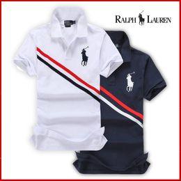 Wholesale Stripe Long Sleeve - Hot style 2018 new fashion polo brand summer men's Big horse flag diagonal stripes shirt casual T-shirts trend Slim sportswear short-sleeved