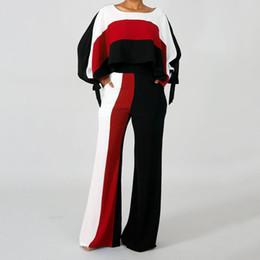 Ufficio di pantaloni viola online-Autunno Ufficio Donna Casual High Street Donna Abiti Pullover Stripe Color Block T-Shirt Fashion femminile Pantaloni viola 2 pezzi Suit