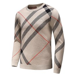 Wholesale mens xl wool shirt - 2018 Latest embroidery Winter men's Casual Sweater Brand Clothing Long Sleeve Mens Sweaters classic Shirt Pullover O-Neck Knitwear B8803