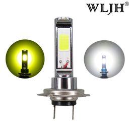 Wholesale Led Daytime Driving Lights - WLJH 12V 24V 30V DC AC Led H7 Lamp Light 18W Chip COB Driving Daytime Bulb Car DRL H7 Headlights Fog Light