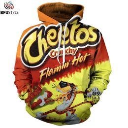 Sudaderas con capucha 3d online-Flamin Hot Cheetos con capucha sudaderas con capucha hombres mujeres 2018 manga larga por todas partes impreso sudadera con capucha Tops Casual 3D sudadera más tamaño