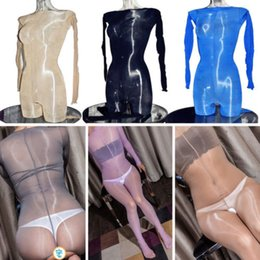 9ad7be851c6 Women Men 8D Unisex Super Shiny Bodysuit Long Sleeve Leopard Bodyhose Nynlo  Open Crotch Closed Crotch Full Bodystocking