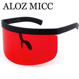Wholesale Purple Visors - ALOZ MICC Women Oversize Shield Visor Sunglasses Women Retro Windproof Glasses Men Shield Visor Flat Top Hood Eyeglasses A471