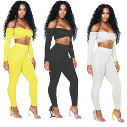 d1b7a978f3f89 Women Full Sleeve Off Shoulder Tie Up Crop Top + Skinny Long Pants Two  Pieces Suits Set Bodycon Nightclub Outfit Jumpsuit