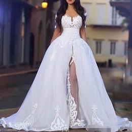 robe en ivoire de style occidental Promotion 2019 Robes de mariée élégantes avec sur la jupe à l'épaule manches longues en dentelle robes de mariée avec train détachable