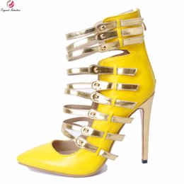 Original Intention New Gorgeous Women Sandals Fashion Pointed Toe Thin High  Heels Sandals Yellow Shoes Woman Plus US Size 4-15 d29229cf66b1