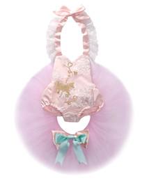 Mameluco de niña bebé rosa online-2018 caliente de la venta falda del tutú 2pcs bebé niño niña rosa Romper + falda de encaje trajes de fiesta vestido