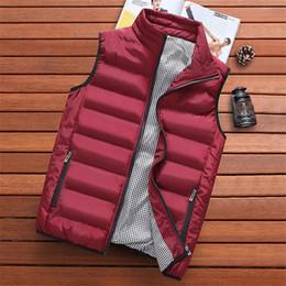 Wholesale korean men winter vest - Autumn and winter thick warm feather cotton men's vest fashion wear wild casual Korean version of the vest jacket M-5XL