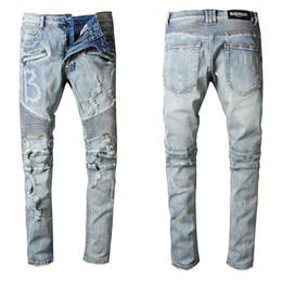 2019 falten-jeans Dünne Zerrissene Jeans Für Hip Hop Männer Motorrad Jeans Denim Hosen Modemarke Loch Punk Biker Männliche Falten Jean Hosen # 1517 günstig falten-jeans