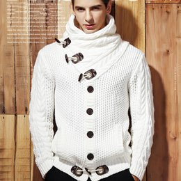 Wholesale Cardigan Sweater Brown - Mens Knitted Cardigans Cotton Sweaters 2018 New High Quality Solid Color Slim Front Button Mens Coats All-Match Pullover Outerwear Jackets