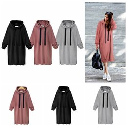 Wholesale Wholesale Cotton Tunics - Women Casual Hooded Hoodie Long Sleeve Solid Color Sweater Loose Hoodie Long Tunic Sweatshirts Plus Hoodie Maxi Dress OOA3932