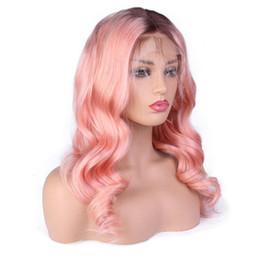 Peruca rosa cabelo humano on-line-Cheia Do Laço Perucas de Cabelo Humano Pré Arrancadas Com Onda Do Corpo Do Cabelo Do Bebê 1B Rosa Cor Remy Cabelo Brasileiro Lace Front Perucas