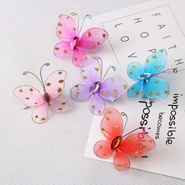 Wholesale Glitter Butterflies Decorations - New Children Hair Accessories Cute Hairpin Beautiful Glitter Butterfly Hair Decoration Side-Knotted Clip Chiffon Baby Clip