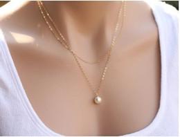 Deutschland Gefälschte Perle Charme Halsketten Legierung Gold Silber Ton 2 Geschichteten Anhänger Halsketten Geschenkideen für Mädchen / Damen Halsreifen Halsketten Versorgung