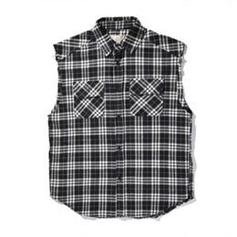 chemise à glissière coton Promotion 2018 Meilleure Version Peur de Dieu Femmes Hommes Plaid Side Zipper Chemises Hiphop Streetwear Hommes Coton Ripped Manches Courtes Chemises FOG