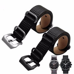 Wholesale Nato Zulu Strap - 24mm Hot Sell New Man Black VINTAGE Watch Band Strap Belt Genuine Leather Pin Silver Brushed Screw Buckle Luxury Nato Zulu Ring