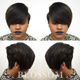 human hair styles for black women Promo Codes - Short Wigs Rihanna Pixie Cut short hair style cuts Brazilian Human Short Bob Wig With Baby Hair Lace Front Wig For Black Women