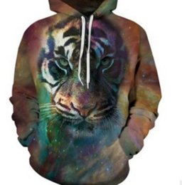 Wholesale Pet Tiger - Fashion Tiger Stay in a pet 3D digital printing thin Hoodie Unisex plush Lovers Spring Sweatshirts Loose type Baseball clothing,Plus Size