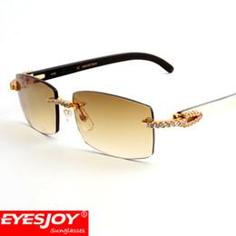 Wholesale Diamond Sunglasses - White Black Buffalo Horn Sunglasses Diamond Frames Rimless Lens Brand Designer Sunglasses for Men luxury glasses with Box CT3524012