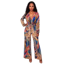 Wholesale Full Jump - Spring Printied Floral Jumpsuit Women Clothing Deep V-collar Long Sleeve Bodycon Bodysuits Wide Leg Pants Sexy Jumpsuit Casual Printing Jump