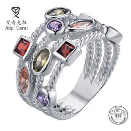 ювелирные изделия из стерлингового серебра Скидка AIQICARAT 925 Sterling Silver Rings For Women Wedding Jewelry Colorful Zircon Statement ring  Korean For Engagement Party