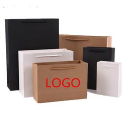 50шт / лот новый! Бумажные мешки с ручкой розовый белый крафт покупки черный бумажный упаковочный мешок бумаги пользовательские логотип мешок мешок подарок мешок от
