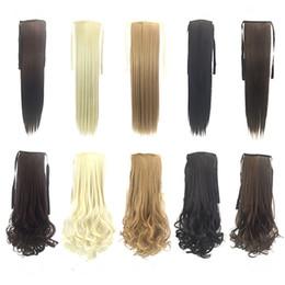großhandel natürliches haar hairpiece Rabatt heißer Verkauf synthetische Pferdeschwanz Clip auf Haarverlängerungen Pony Schwanz 50cm 90g synthetische gerade Haare Stücke mehr 8 Farben Optional FZP24