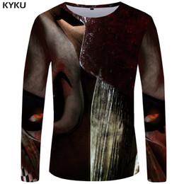 Clown freizeitkleidung online-KYKU Schädel Lange T-shirt Männer Clown T-shirt Punk Rock Kleidung Gothic Eye 3d Druck T-shirt Hip Hop Anime Herren Kleidung Casual Tops