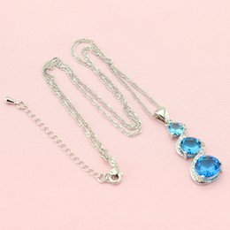 Wholesale Blue Jade Rings - ashion Jewelry Sets WPAITKYS Blue Cubic Zirconia Silver Color Wedding Jewelry Sets For Women Earrings Pendant Necklace Ring Bracelet Fre...