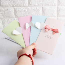Wholesale Invitation Supplies Wholesale - Stereo Valentines Day Greeting Cards For Wedding New Year Supplies Cute Bowknot Wing Heart Shape Invitation Card Fashion 0 35lg B
