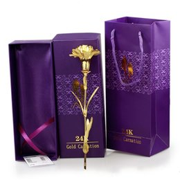 Wholesale New Mother Flowers - New Mothers Day Gift Pack Solid Gold Plated Hand Made Non Fading Lifelike Carnation Happiness Flower Carnation High Grade 6dq Y