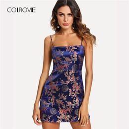 vestido novo vestido vermelho Desconto Colini cetim jacquard boho cami sexy dress 2018 novo verão curto floral deslizamento curto dress spaghetti strap partido mulheres