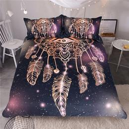 Eye Dreamcatcher Conjunto De Cama King Size Luxo Galaxy Impressão De Ouro Boêmio Lençóis 3d Universo Capa de Edredão de Fornecedores de conjunto de cama 3d, algodão cisne