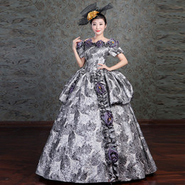 Wholesale Civil War Ball Gowns - Marie Antoinette Dress Women Floral Embroidery Medieval Civil War Southern Belle Ball Gowns 2018 New Reenactment Cosplay Clothing F279