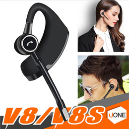 Wholesale Wholesale Phone Business - V8 V8S Business Bluetooth Headset Wireless Earphone Car Bluetooth V4.1 Phone Handsfree MIC Music for iPhone Xiaomi Samsung with package